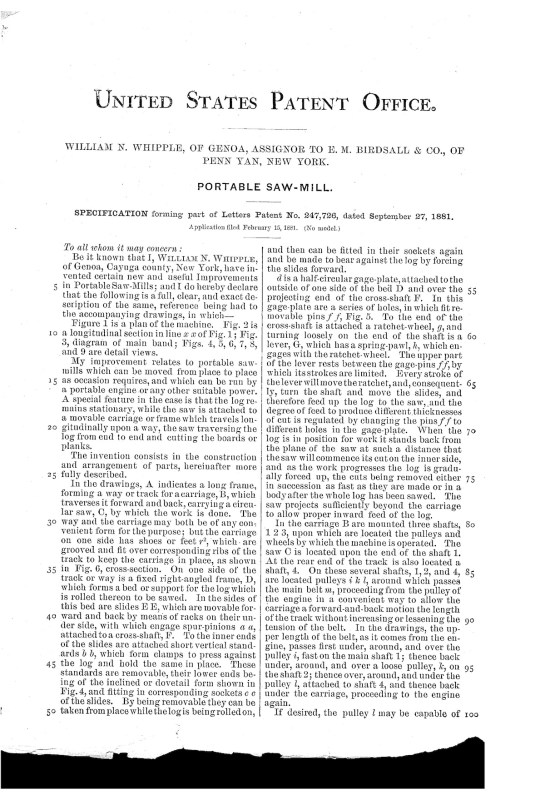 02-15-1881 patent US247726 portable saw mill Pg 4 of 5