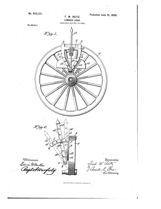 02-17-1900 patent 0652221 1900-02-17 FRED W. REITZ , A lumber jack Pg 1 of 3