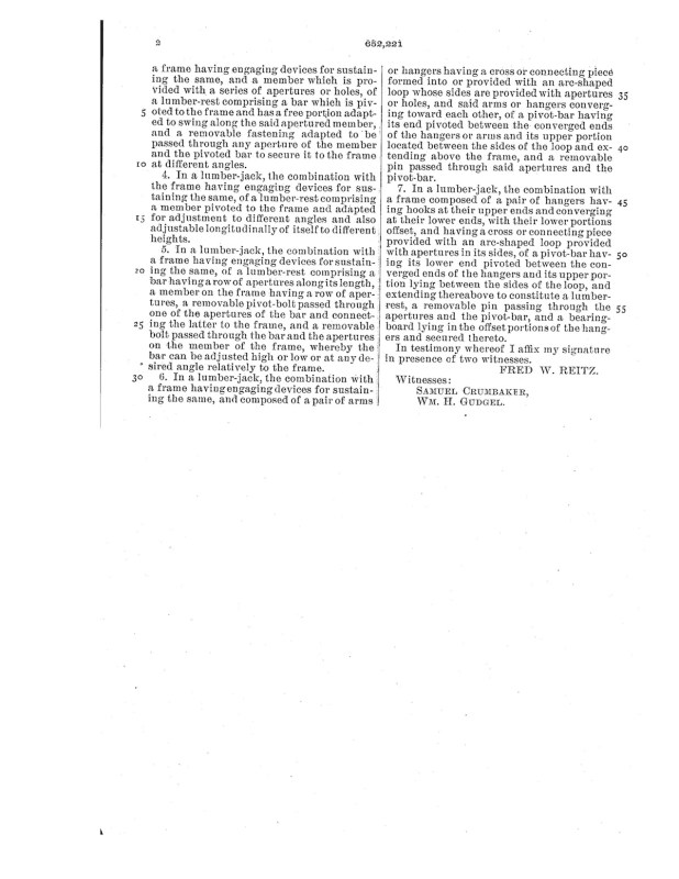 02-17-1900 patent 0652221 1900-02-17 FRED W. REITZ , A lumber jack Pg 3 of 3