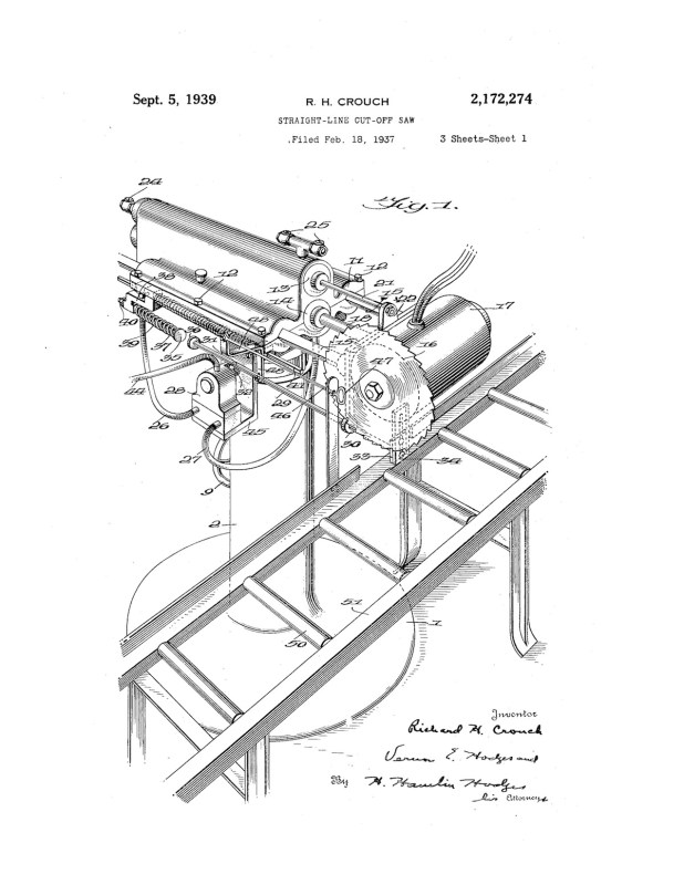 02-18-1937 patent 2172274 1937-02-18 Richard H. Crouch, My invention relates to an improvement in straight line cut-off saws Pg 1 of 5