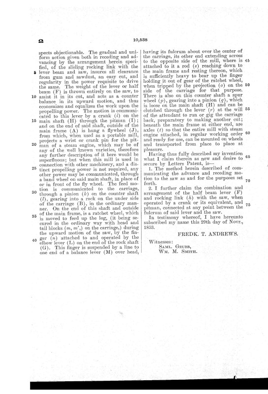 02-21-1854 patent US10538A Reciprocating Vertical Saw Mill pg 3 of 3