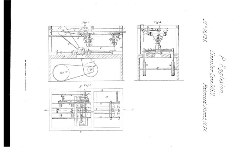 03-03-1857 patent US16725A circular sawing machine pg 1 of 3