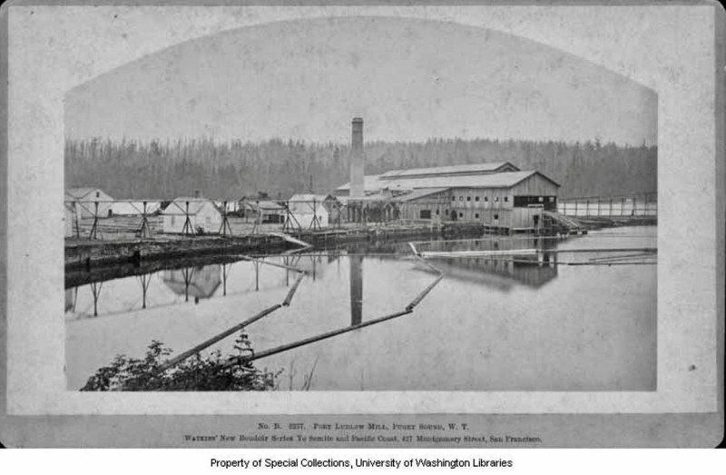1882 Puget Mill Co. sawmill and log pond. Vintage logging.