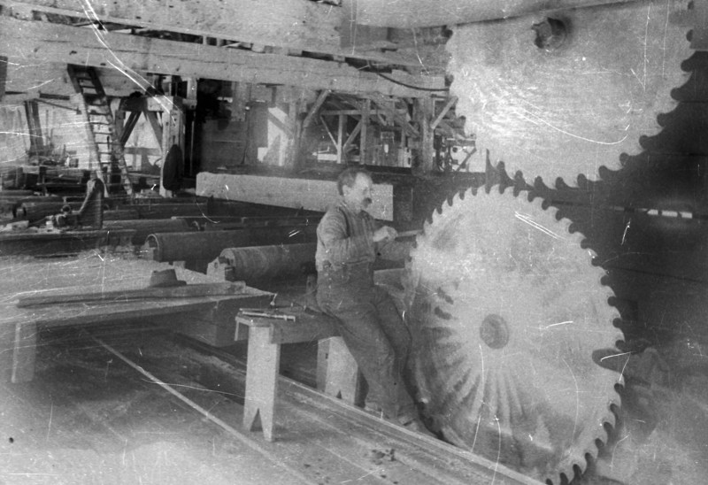 1900 Photograph shows a saw filer at work in the Providence Mill (West Branch) of the Sierra Lumber Company.