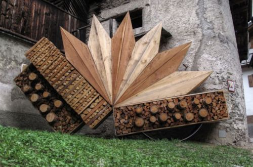Piles of firewood art.