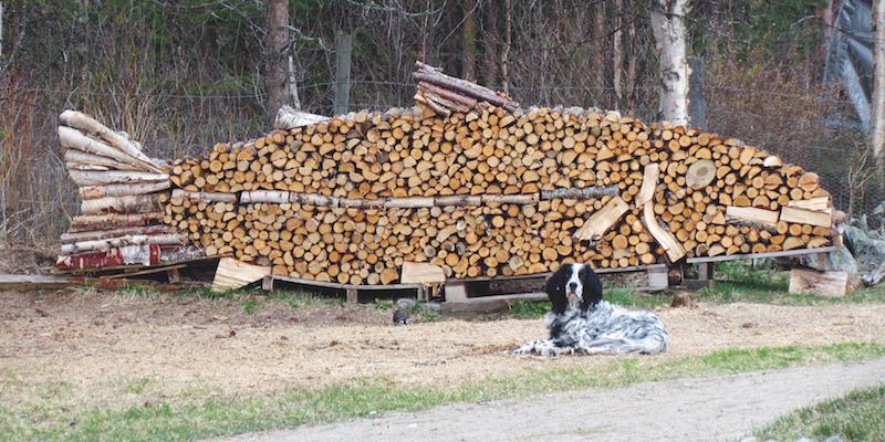 Firewood works of art.