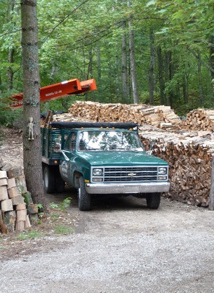 Chevy 1 ton dump truck firewood delivery.