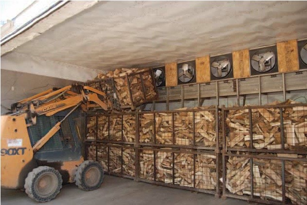 Kiln drying firewood on a commercial scale.
