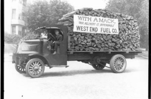 Vintage firewood truck delivery service.