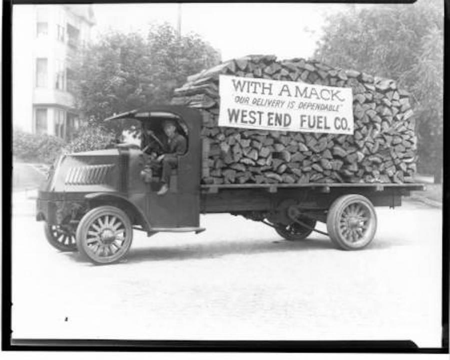 Vintage firewood truck delivery service.