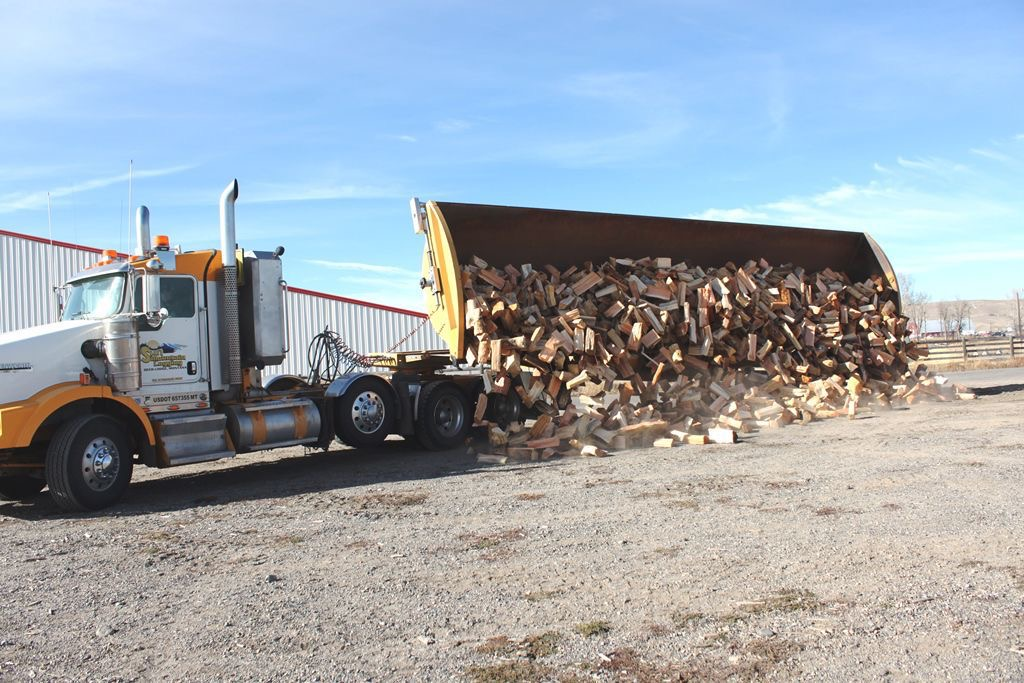 Firewood truck - Montana firewood giveaway helps 100 homes.
