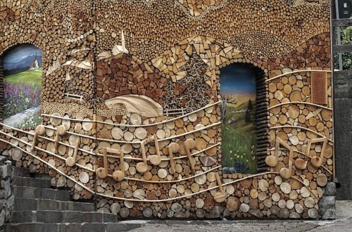 Firewood art around the world