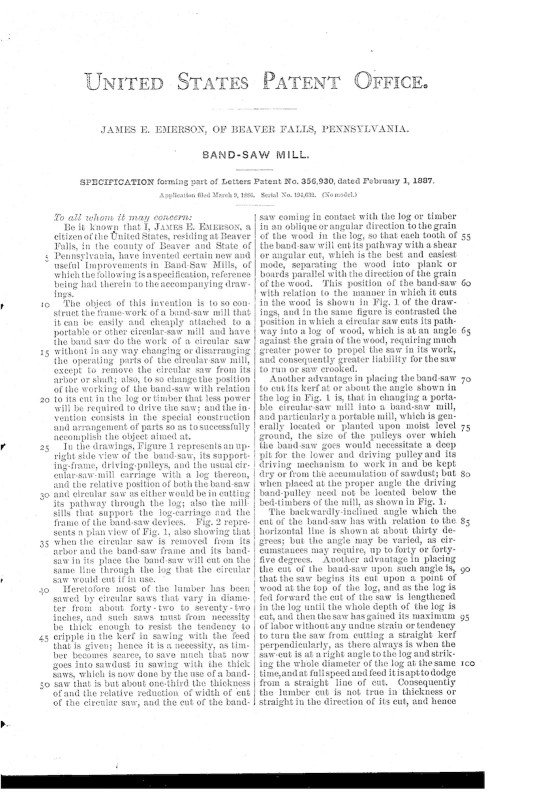 03-09-1886 patent US356930 Patented 02-01-1887 Band Saw Mill pg 3 of 4