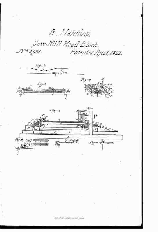 04-01-1842 patent US2531A Self setting cog for sawmills pg 1 of 3