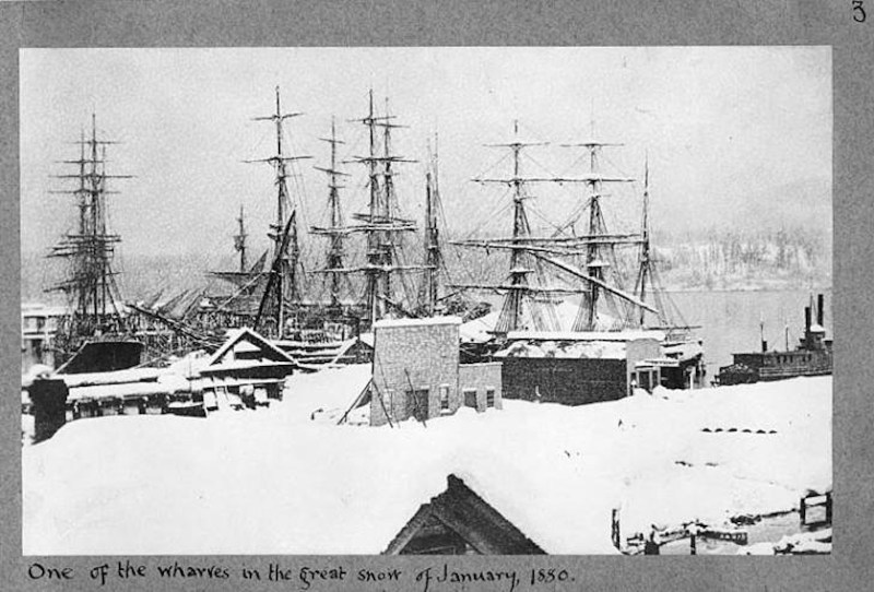 One of the wharves in the great snow of January 1880.