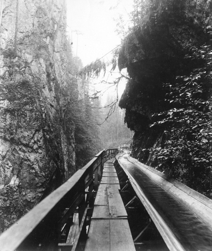 1912-14 A shingle bolt flume in Capilano Canyon, BC.