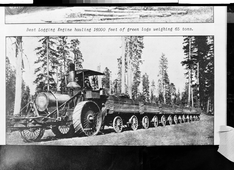 Best Logging Engine hauling 16000 feet of green logs weighing 65 tons.