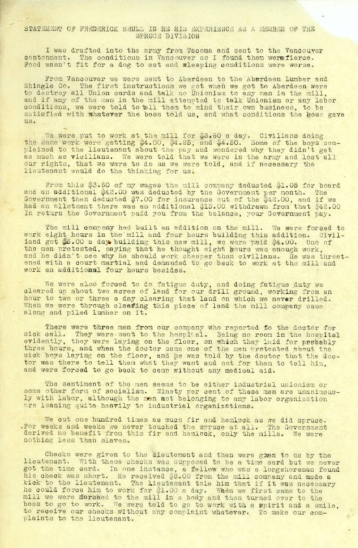 1919 Frederick Shulz statement to Tacoma Central Labor Council pg 1 of 2