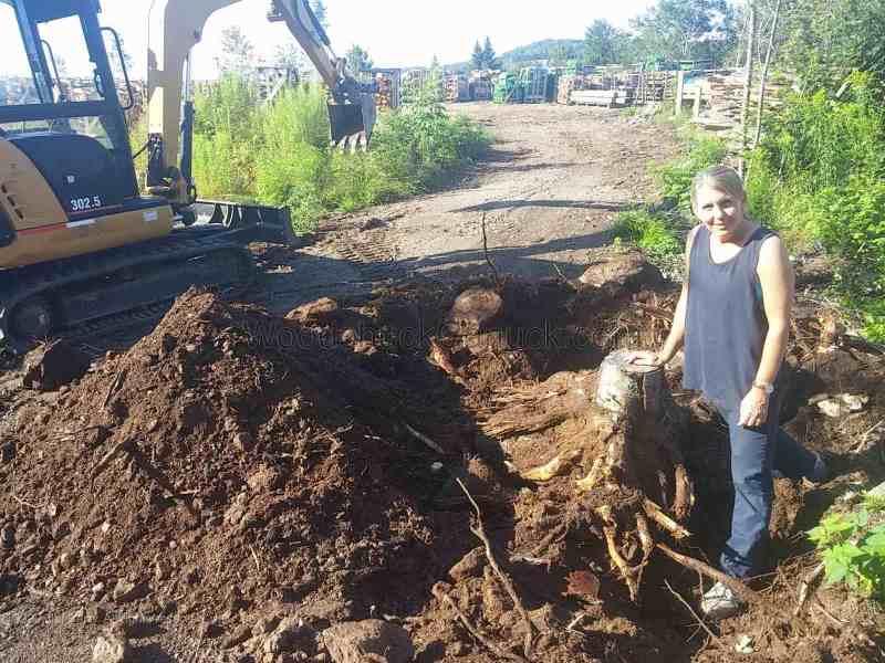 Gina digging stumps.