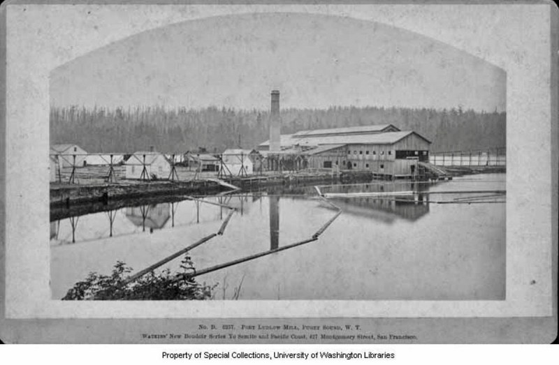 1882 Puget Mill Co. sawmill and log pond. Port Ludlow, WA.