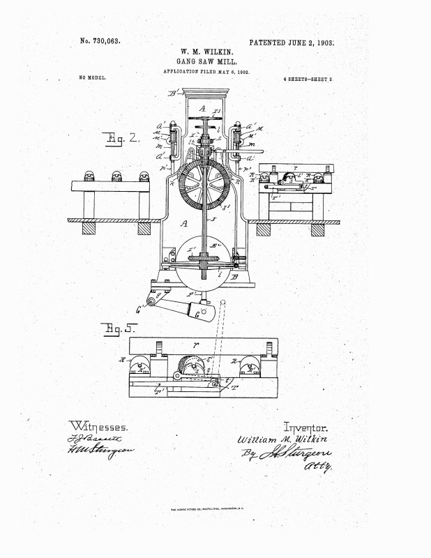1902 Illustration of patent for a gang saw mill