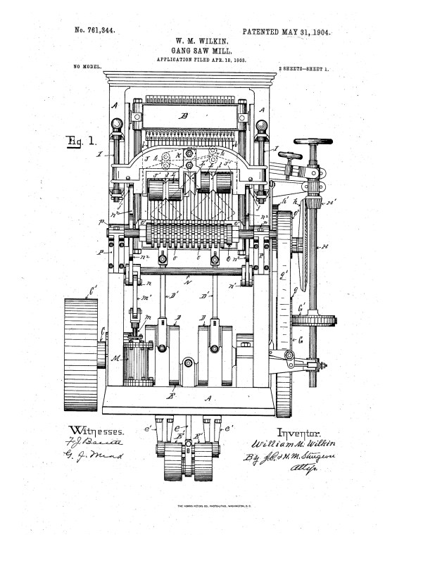 1903 Illustration of a patent for a gang saw mill