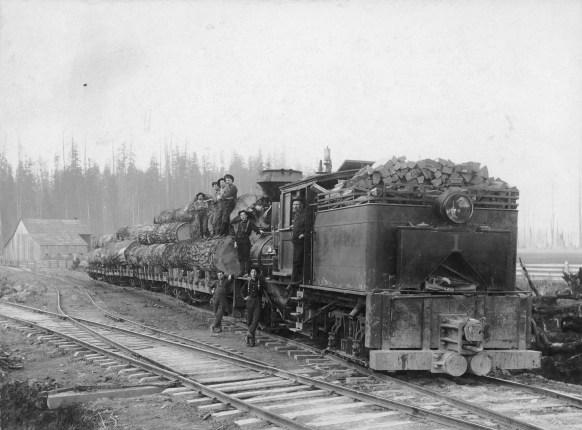 1900s Logging train and woodsmen.