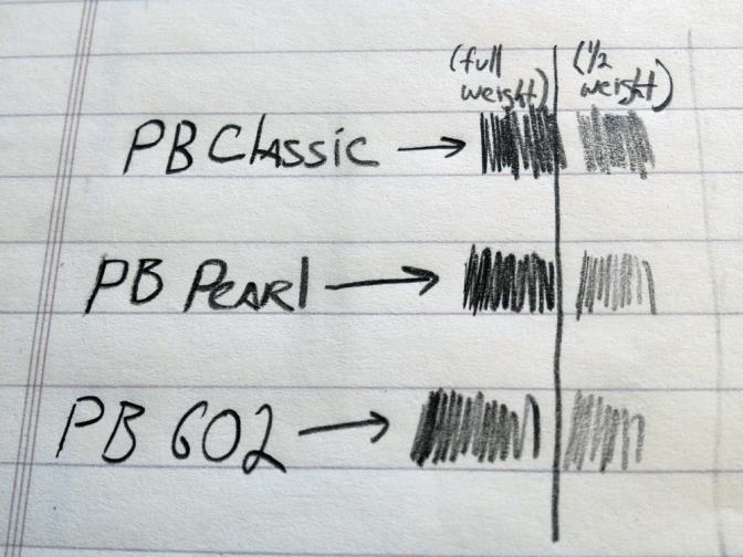 The Palomino Blackwing Pearl writing test against its siblings.
