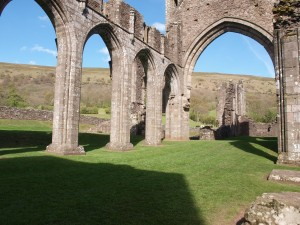 Llanthony Priory with Hatterall Ridge in the distance