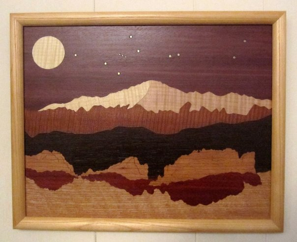LB107 - Marquetry Landscape - Pike's Peak
