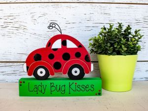 lady bug kisses car