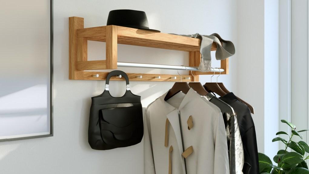 coat rack, wooden coat rack, wall mounted coat r