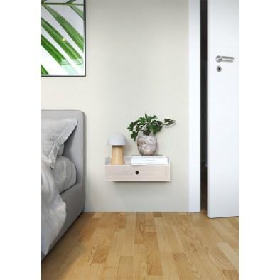 drawer to the wall, floating nightstand, wooden nightstand, metal nightstand