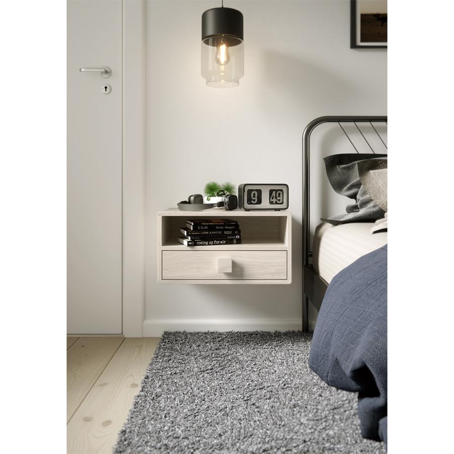 wooden nightstand, floating nightstand, bedside table