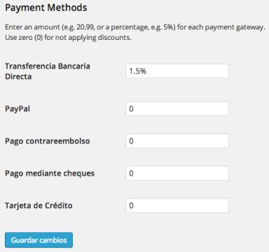 Descuento en pago por transferencia bancaria en WooCommerce