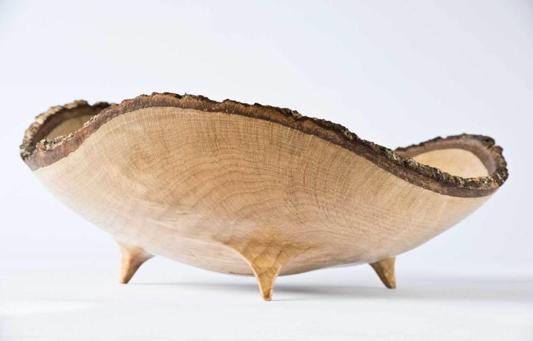 Bark Rimmed Oak Wooden Bowl No251 (2019)