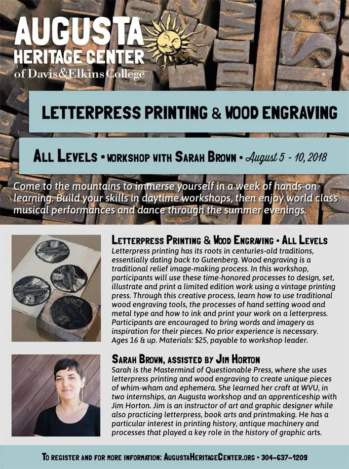 Wood Engraving & Letterpress Class at Augusta Heritage Center!