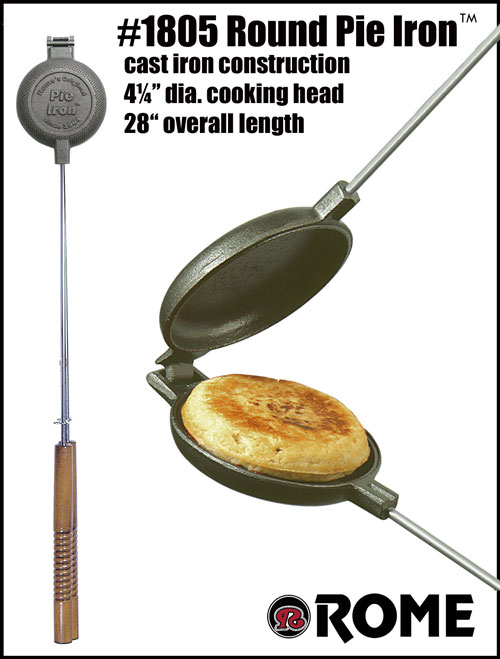 Romes 1805 Round Pie Iron with Steel and Wood Handles