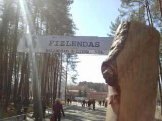 Medinukas prie įėjimo į FizLendą.