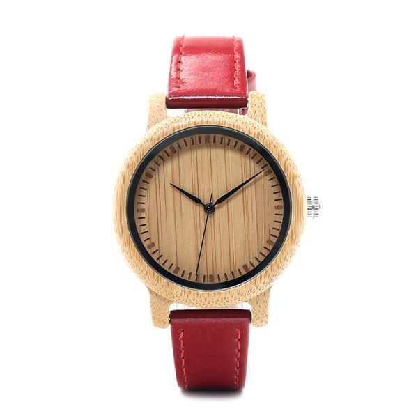 BOBO BIRD WJ09 Simple Style Bamboo Women Watch Bamboo Dial Genuine Red PU Leather Band Quartz Watches Relojes mujer Accept OEM 4
