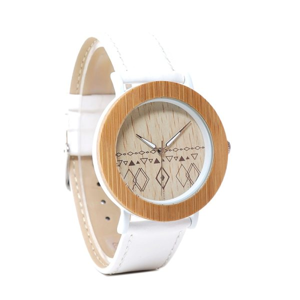 BOBO BIRD Stylish BOBO BIRD fashion natural bamboo handcrafted women wooden watch with white metal housing  часы женские 5
