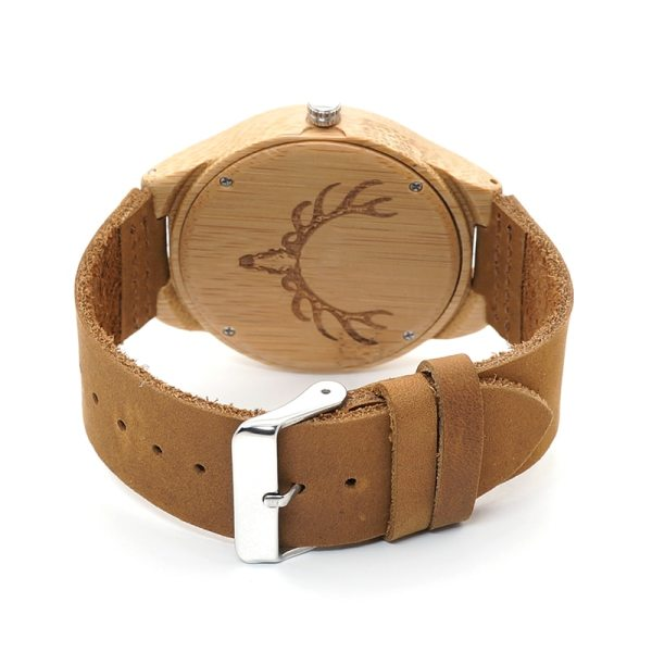 BOBO BIRD WM08 Mens Deer Head Design Buck Bamboo Wooden Watches Luxury Wood Watches With Soft Leather Strap for Men Women 6