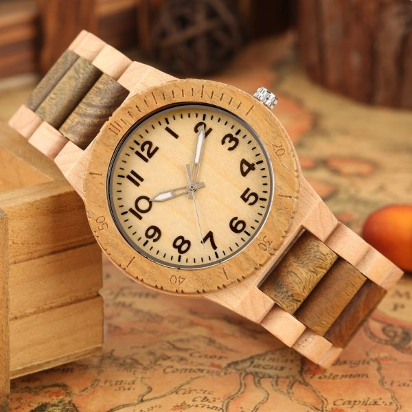 Quartz Wood Watch for Men Natural Maple Strap Wooden Watches for Female Luminous Pointers Wooden Wristwatch relogios masculinos 5