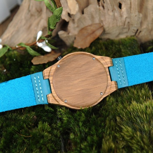 BOBO BIRD LP20-6 Landscape reloj mujer Watch Men Quartz Watch Zebra Wood Erkek kol saati  Blue Leather Strap Clock 5