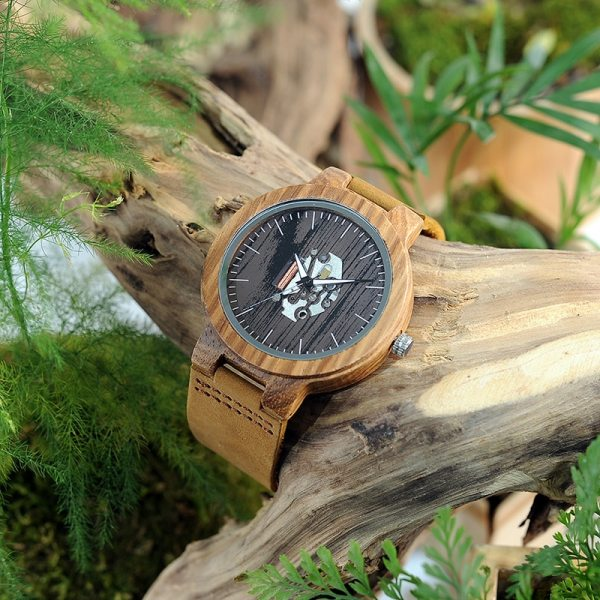 BOBO BIRD Watch Men Real Leather Band Wooden Quartz Wooden Watches Mens Wristwatch Great Men's Gift relogio masculino W-H29 4