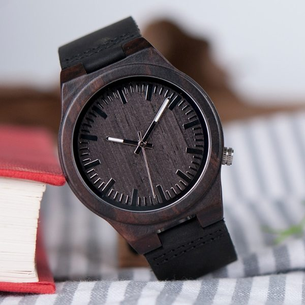 BOBO BIRD WB12 Men's Asymmetric Design Ebony Wooden Watches with Soft Leather Band with Gift Box as Gift Dropshipping Accept OEM 5