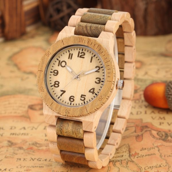 Quartz Wood Watch for Men Natural Maple Strap Wooden Watches for Female Luminous Pointers Wooden Wristwatch relogios masculinos 4