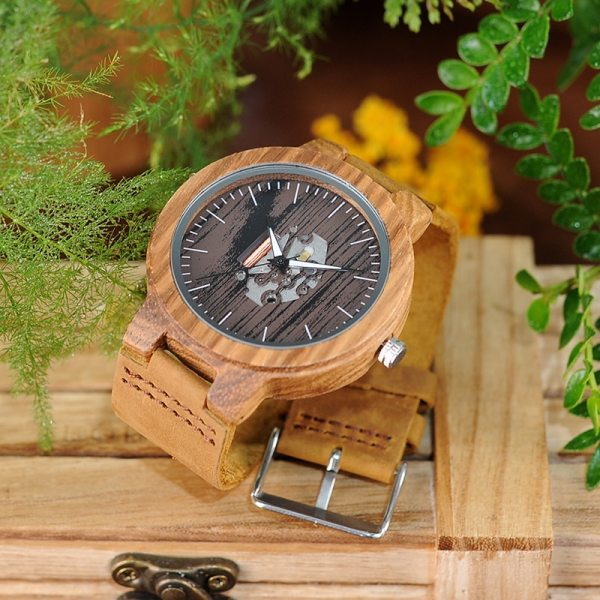 BOBO BIRD Watch Men Real Leather Band Wooden Quartz Wooden Watches Mens Wristwatch Great Men's Gift relogio masculino W-H29 3