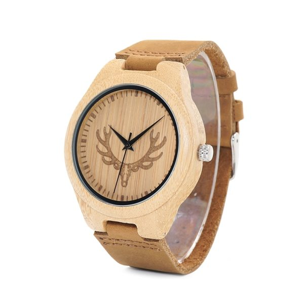 BOBO BIRD WM08 Mens Deer Head Design Buck Bamboo Wooden Watches Luxury Wood Watches With Soft Leather Strap for Men Women 2