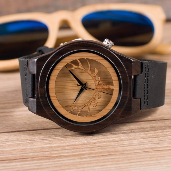 BOBO BIRD WB18 Deer Skeleton Black Wood Watches Leather Band Mens Top Brand Quartz Watches With Wooden Box relogio OEM 5